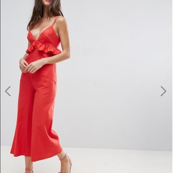 1ba0bec5f2f ASOS Red Linen Jumpsuit with Ruffle